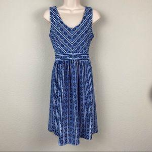 Maeve Anthropologie Cotton Blue Stripe Flare Dress